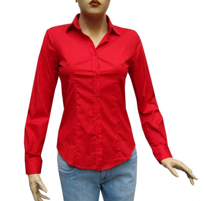 Damen Bluse Tailliert Slim Fit